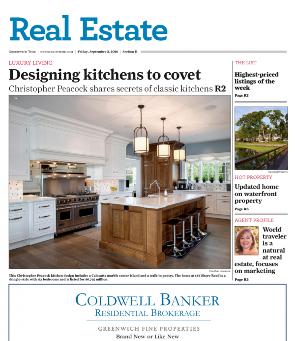 Greenwich Time. September, 2016. This Christopher Peacock Kitchen Design  Includes A Calacatta ...